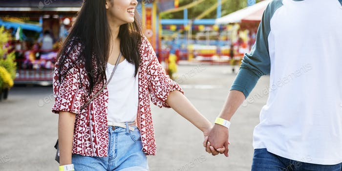 Couple Dating Amusement Park Funfair Festive Playful Happiness C