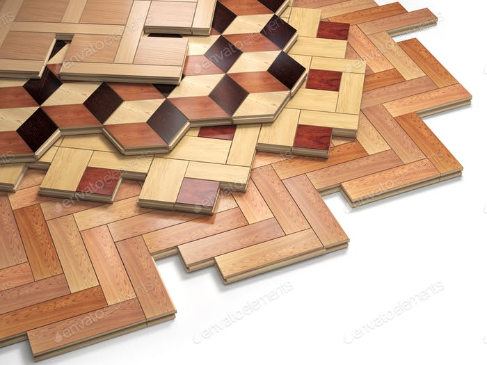 Stack ofr parquet wooden planks. Few types of wooden parquet coa