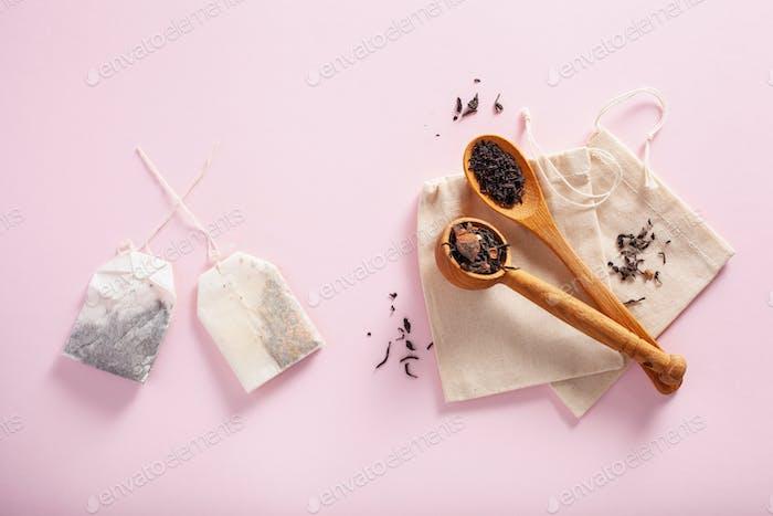paper and reusable cotton tea bag, eco zero waste concept