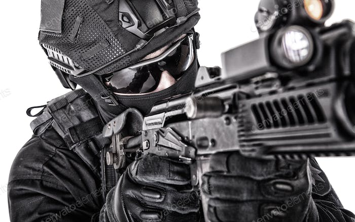 Police special forces fighter closeup studio shoot