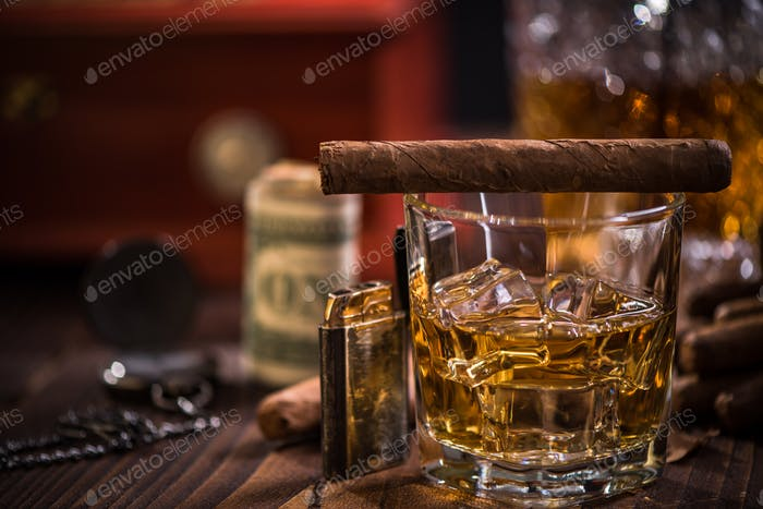 Glass of Scotch or Cognac and Cigar