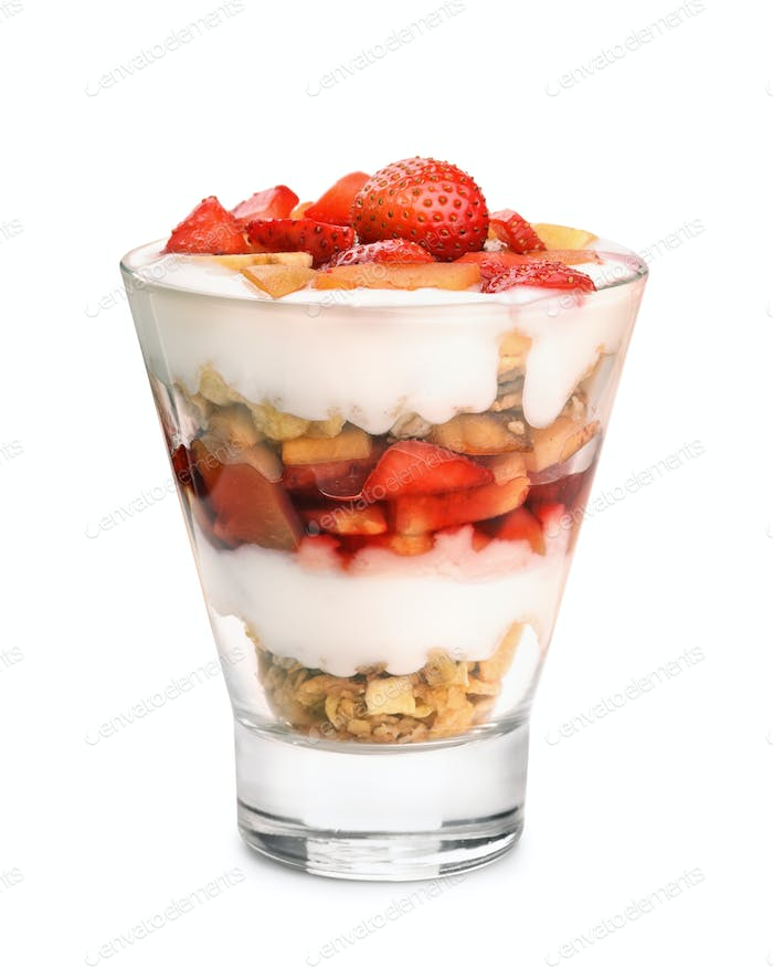 Glass of fruit and yogurt parfait
