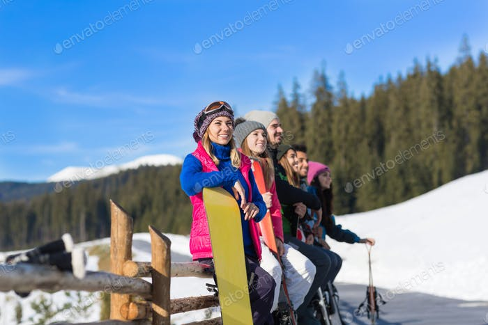 People Group With Snowboard And Ski Resort Snow Winter Mountain Cheerful Friends