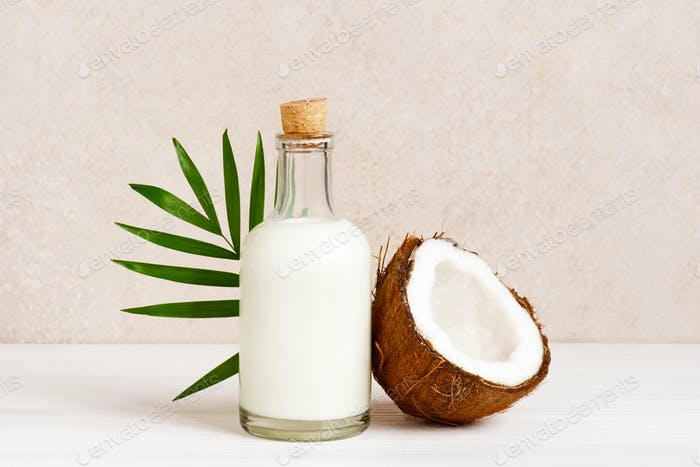 Coconut Milk in the Glass Bottle