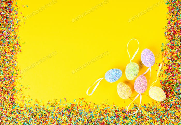 Happy Easter concept. Yellow paper background.