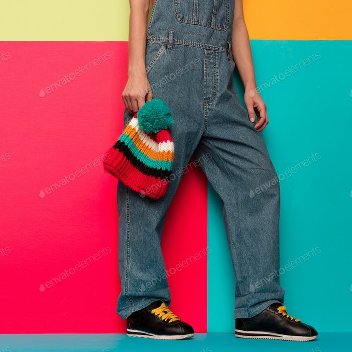 Stylish overalls. Urban. Skateboard snowboard wear. Sneakers Min