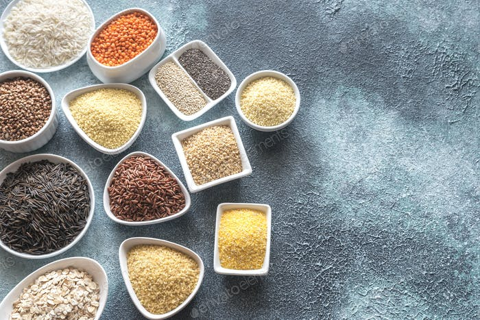 Assortment of grains on the gray background