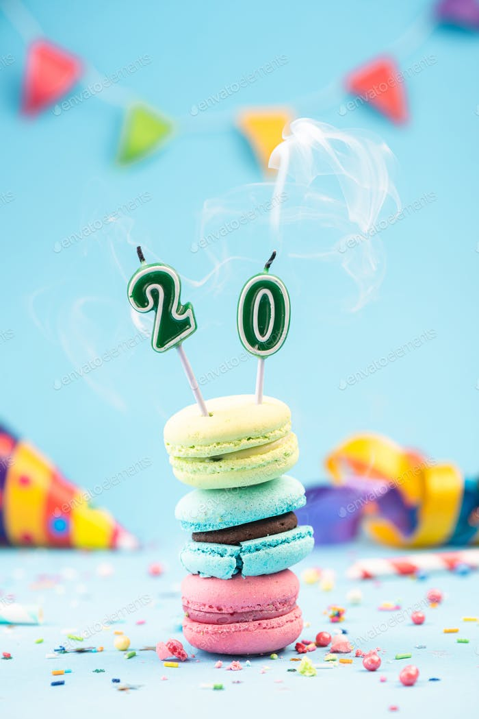 Twentieth 20th Birthday Card with Candle Blown Out in Colorful M