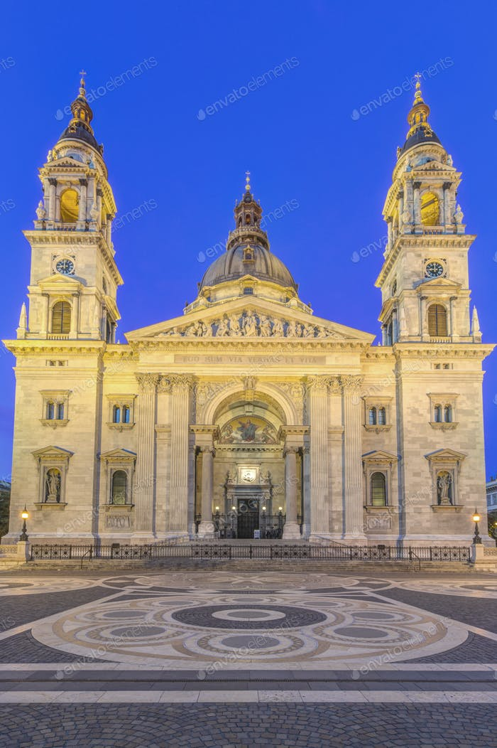 54748,St. Stephen's Basilica illuminated at dusk, Budapest, Hungary