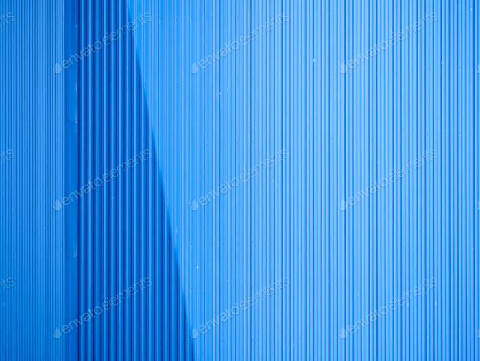 Blue aluminum sheet as a wall