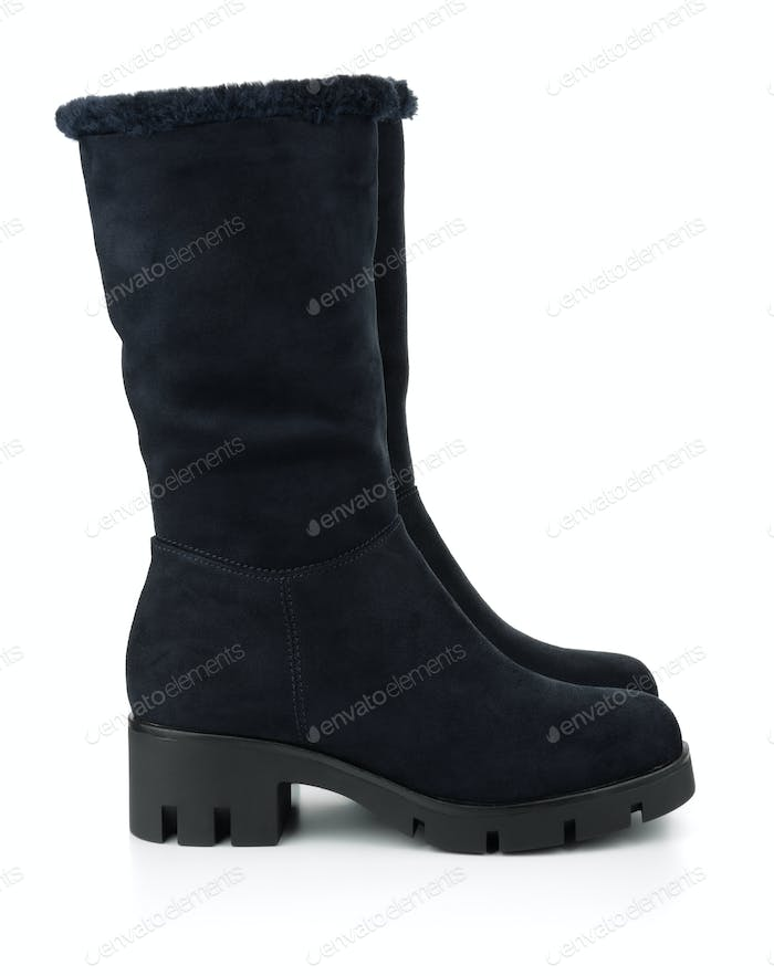 Black winter suede boots