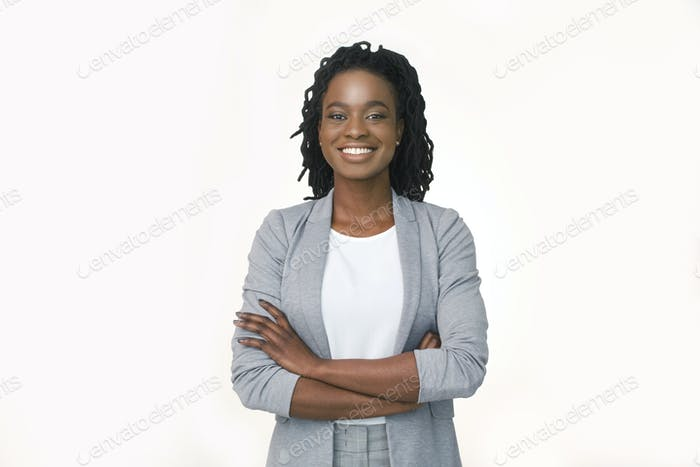 Confident Business Girl Smiling At Camera Crossing Hands, White Background