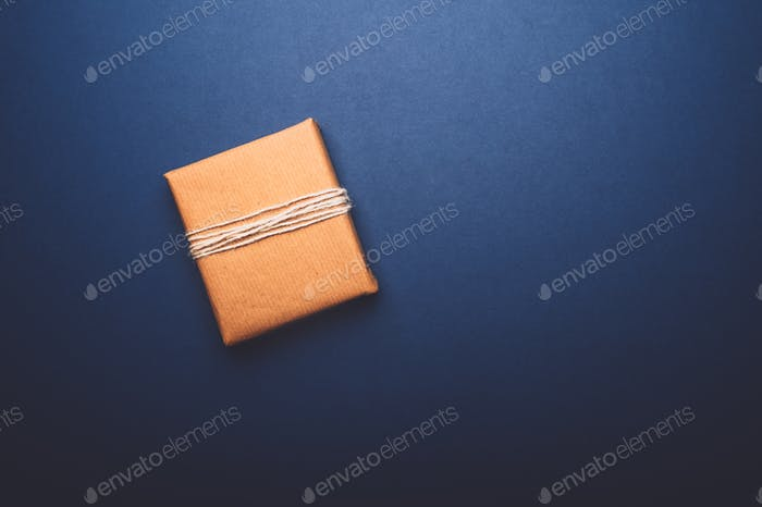 Eco friendly gift wrapped in brown paper