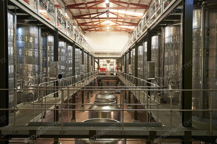 Modern winemaking facility interior, straight ahead view