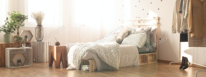 Self-made wooden bed