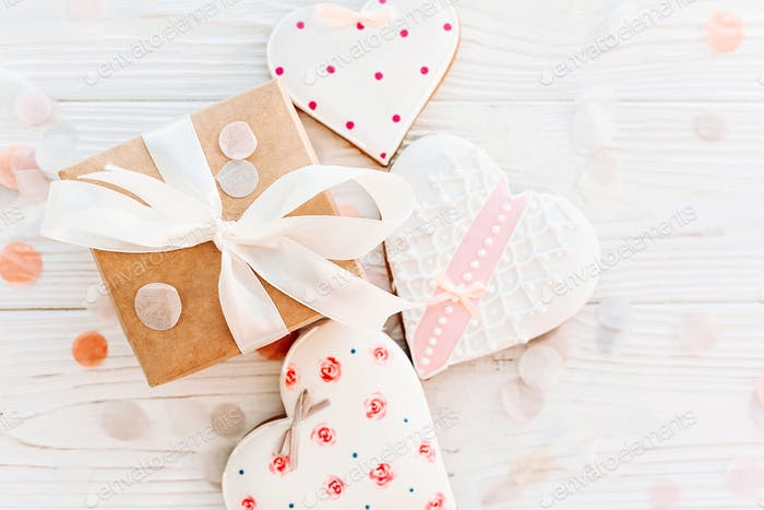 cookie hearts and craft gift box