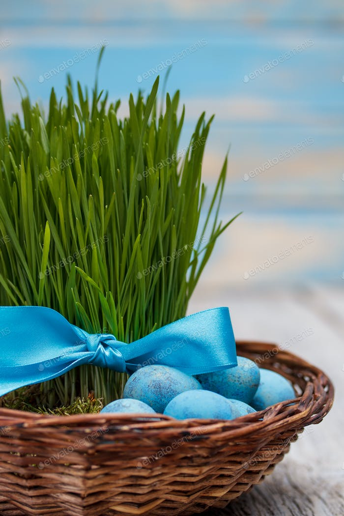 Green grass with ribbon