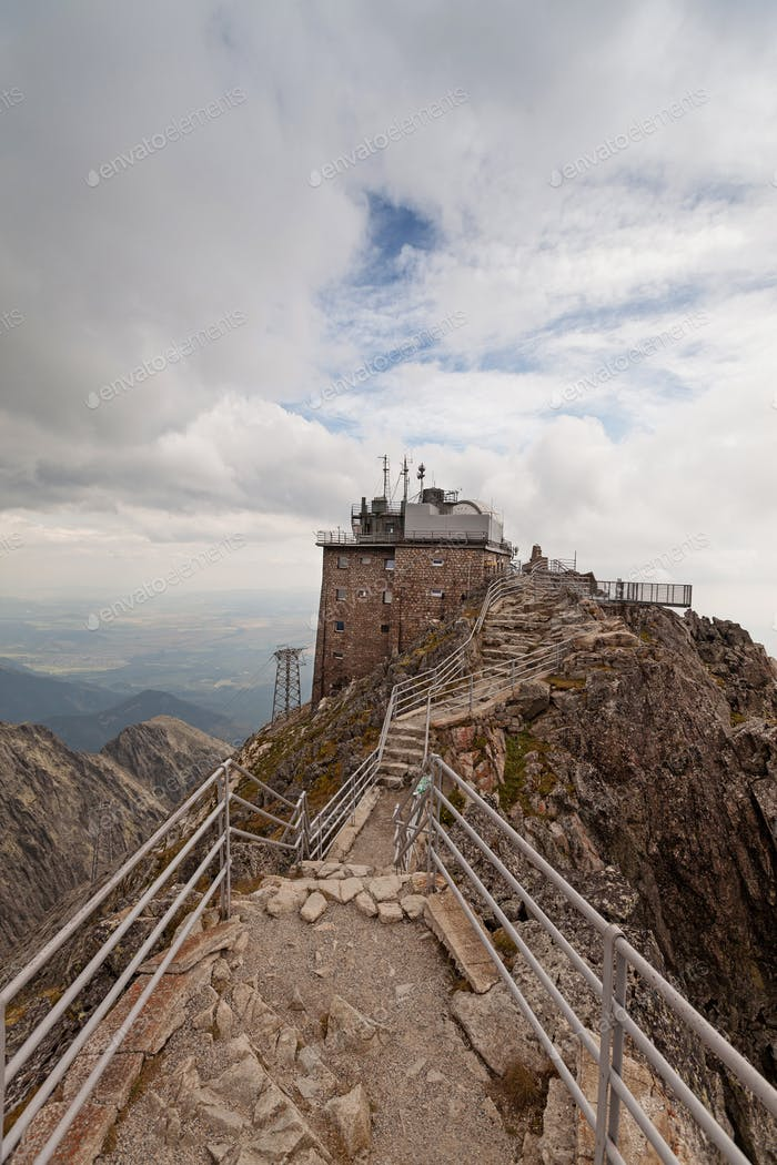 Upper station of the cable railway on Lomnicky Stit peak in High Tatra mountains