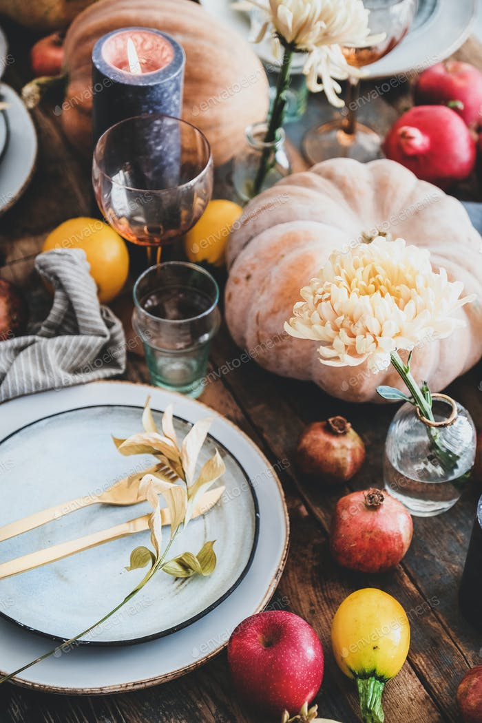 Fall table setting for Thanksgiving day party, close-up