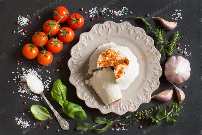 Italian ricotta cheese, vegetables and herbs