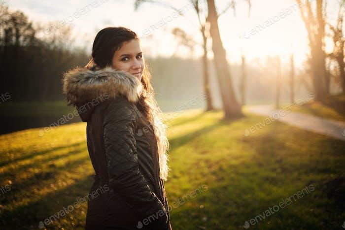 Young woman portrait winter park