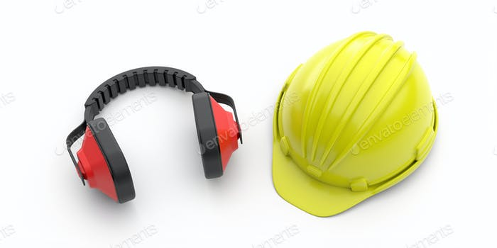Hard hat and ear protection defenders isolated on white background. 3d illustration