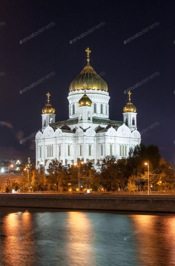 The Christ the Savior Cathedral at night view from the river. Russia, Moscow