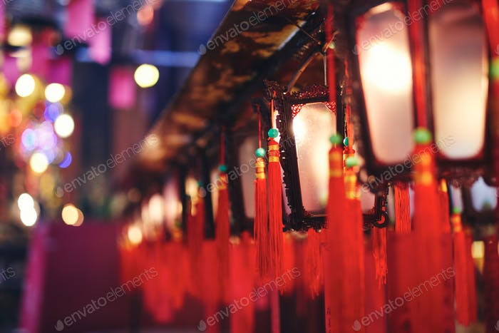 Traditional Chinese lanterns with blessings in temple