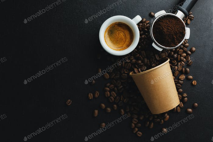 Coffee beans and espresso on dark background