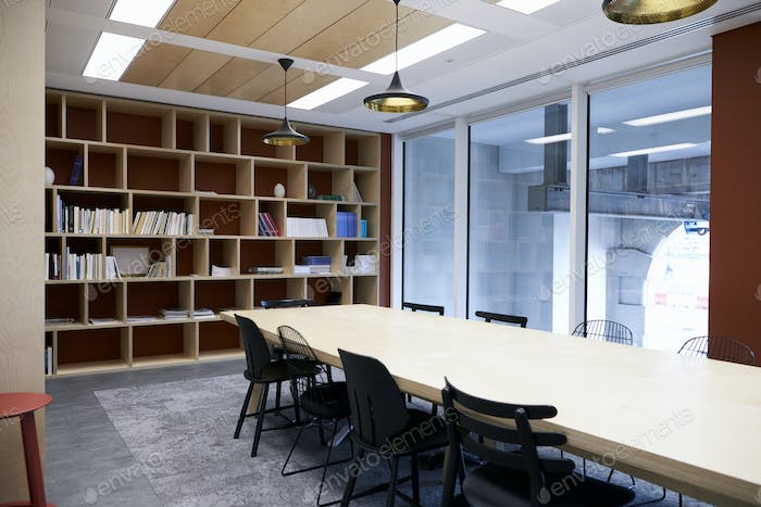 Empty business boardroom with glass wall