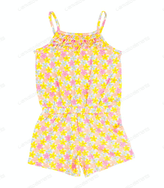 Child cotton overalls with floral pattern.