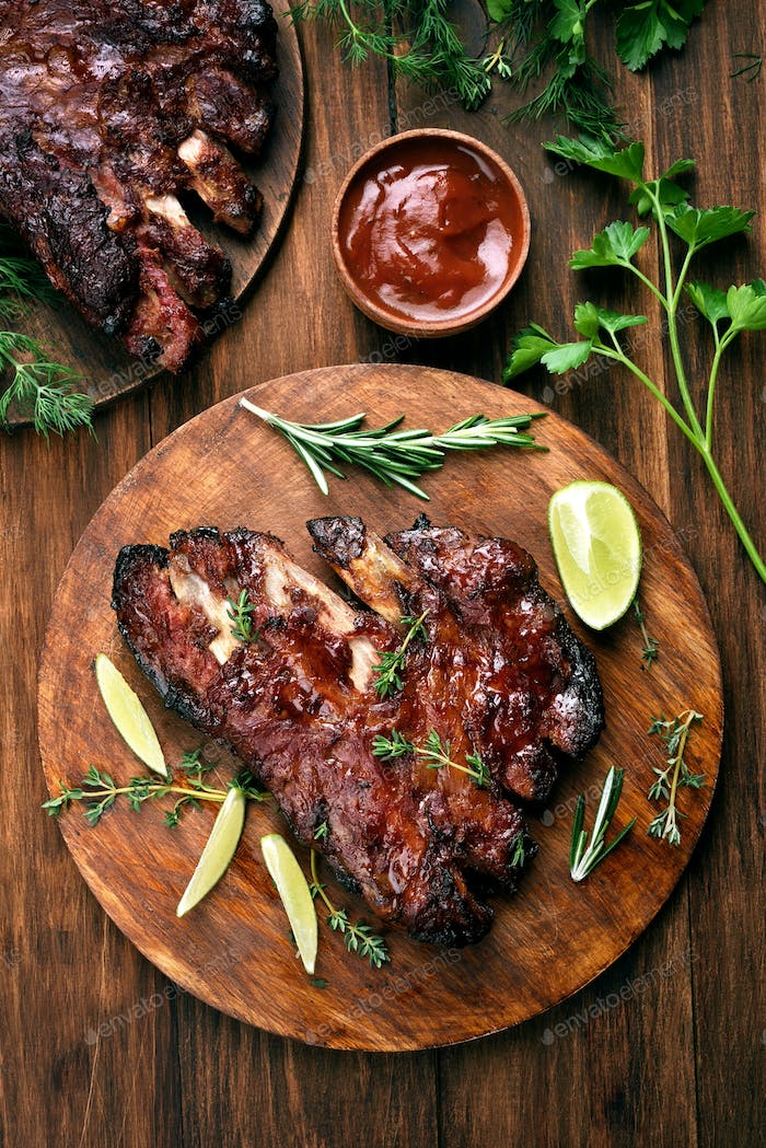 Pork ribs, top view