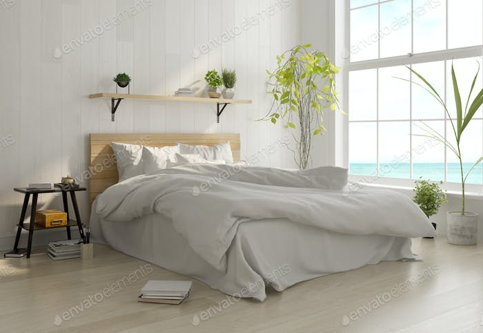 Interior light bedroom. Scandinavian style. 3D rendering