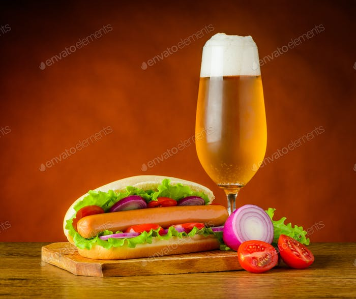 Hot Dog Sandwich with Glass of Cold Beer