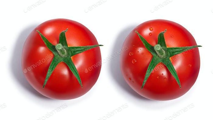 Tomate mit und ohne Tautropfen, Draufsicht, Pfade