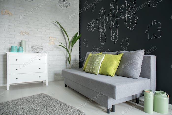 Living room with white dresser