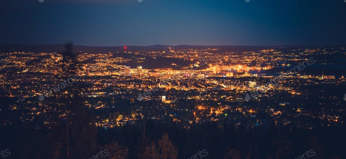 Night in the Oslo Norway