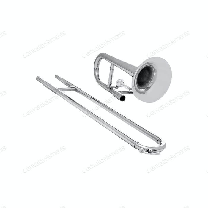 Silbertrompete isoliert auf weiß