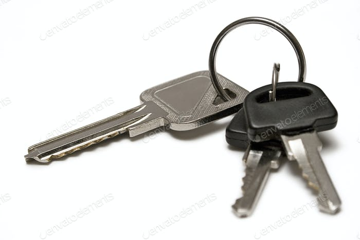 Three Keys on a Keyring Isolated on a White Background