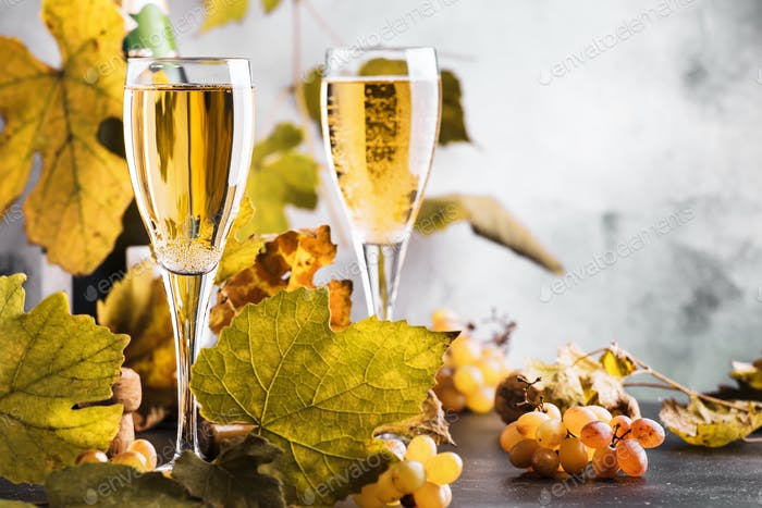 Champagne, brut or sparkling wine in glass