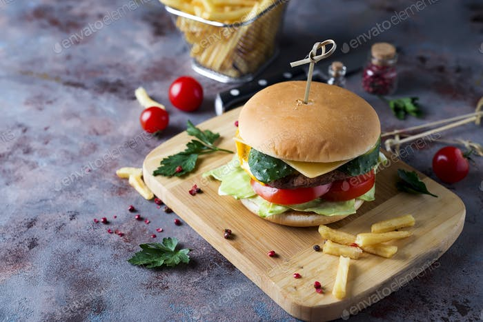 burger with french fries,