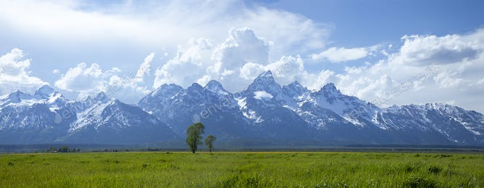 Panorama of the Grand Teton Mountains with Dramatic Clouds in Afternoon Light