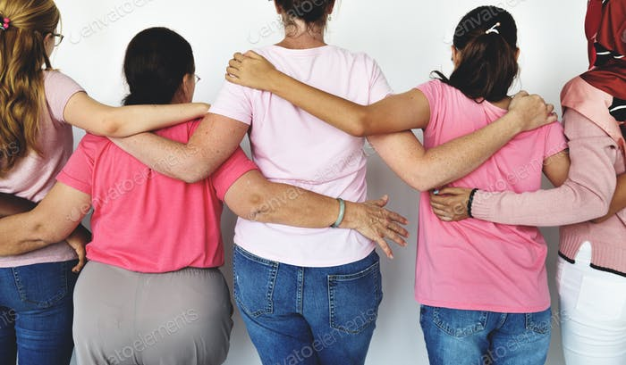 Group of Multiethnic Women Wear Pink Shirt