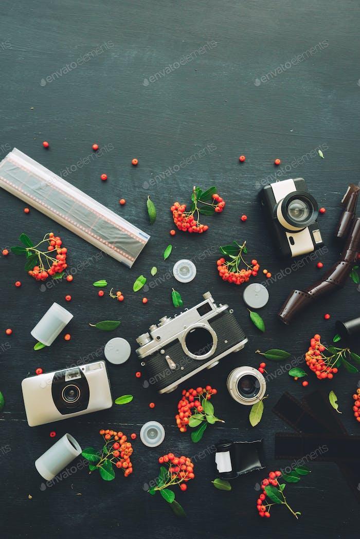 Vintage retro film cameras flat lay