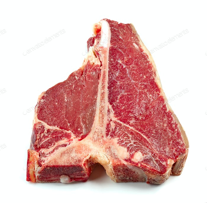 fresh raw T bone steak