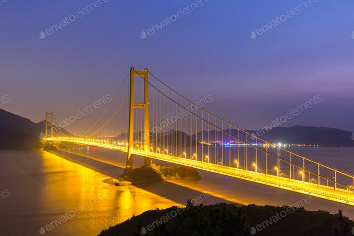 zhoushan xihoumen bridge night view
