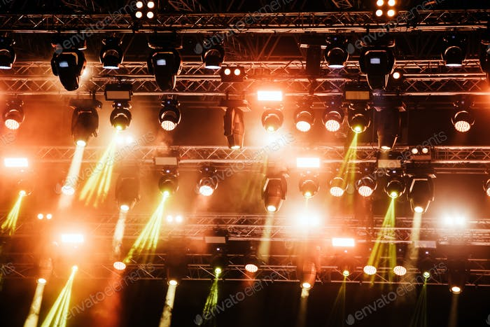 Picture of bright concert lighting on stage
