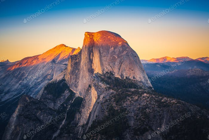 Sunset View of Half Dome from  Glacier Point in Yosemite Nationa