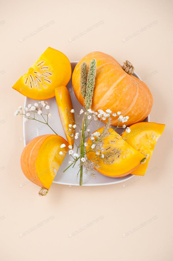 Pieces of fresh orange pumpkin and dried flowers on a white plat