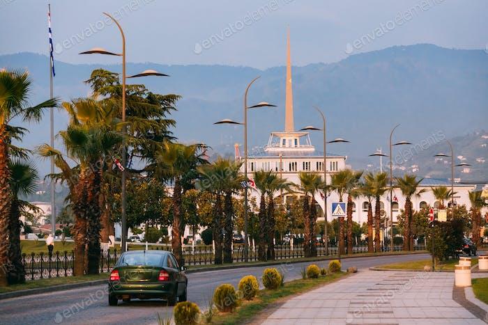 Batumi, Adjara, Georgia. Gogebashvili Street Road And Marine Sta